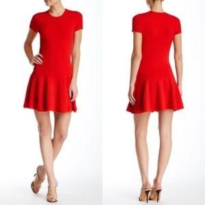 Rebecca Minkoff Red Textured Drop Waist Dress